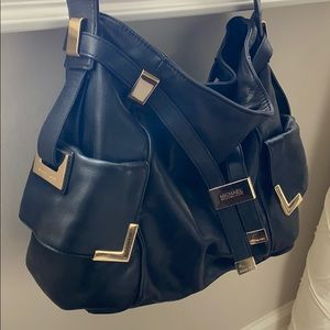 Michael Kora Black Leather Shoulder Bag